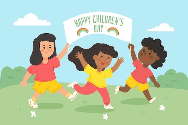 Ręcznie rysowane projekt światowy dzień dziecka