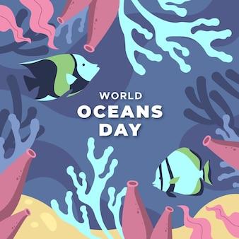 Ręcznie rysowane projekt światowy dzień oceanów