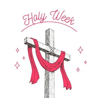 Ręcznie rysowane projekt świętego tygodnia