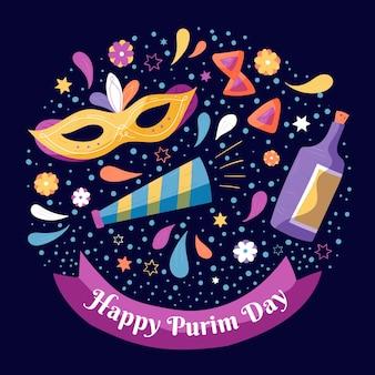 Ręcznie rysowane projekt szczęśliwy dzień purim