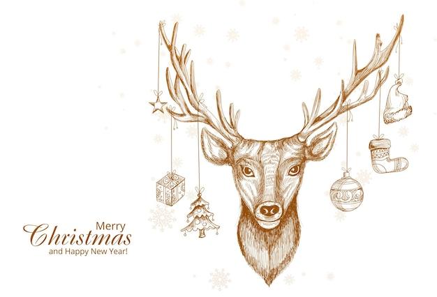 Ręcznie rysowane projekt szkic jelenia boże narodzenie