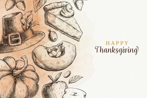 Ręcznie rysowane projekt tło dziękczynienia