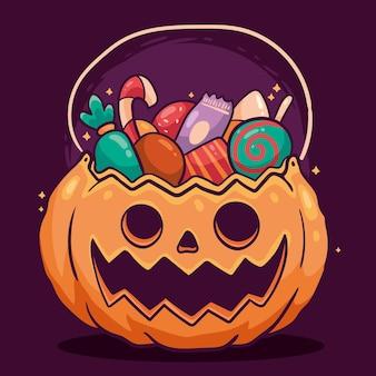 Ręcznie rysowane projekt torby halloween