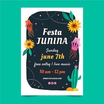 Ręcznie rysowane projekt ulotki festiwal czerwca
