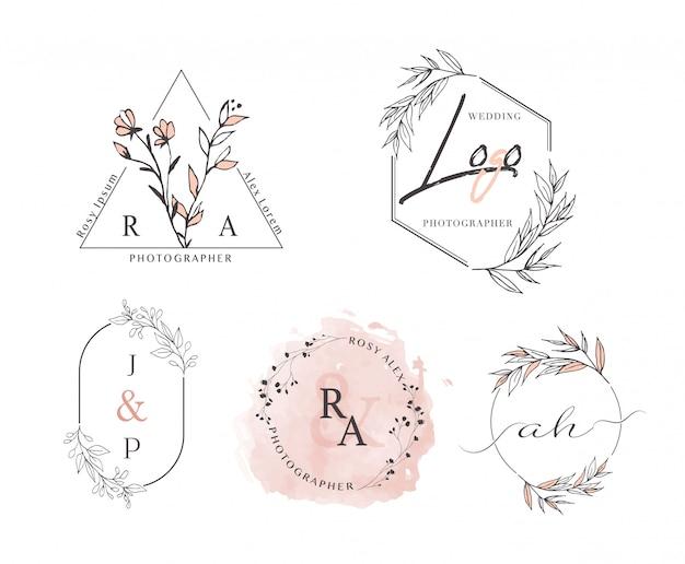 Ręcznie rysowane projekt wieniec liść logo