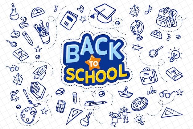 Ręcznie rysowane projekt z powrotem do koncepcji szkoły