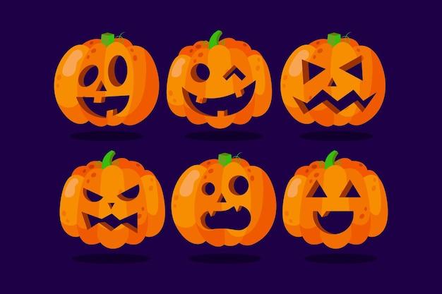 Ręcznie rysowane projekt zestaw dyni halloween