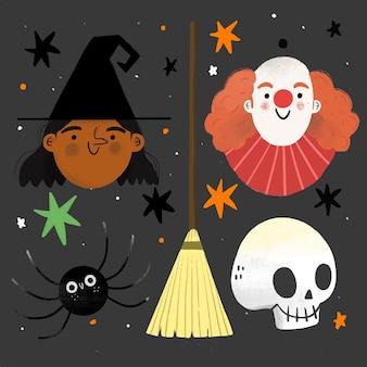 Ręcznie rysowane projekt zestaw elementów halloween