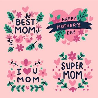 Ręcznie rysowane projekt zestaw etykiet dzień matki