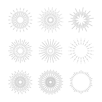 Ręcznie rysowane promienie starburst w prostym stylu retro