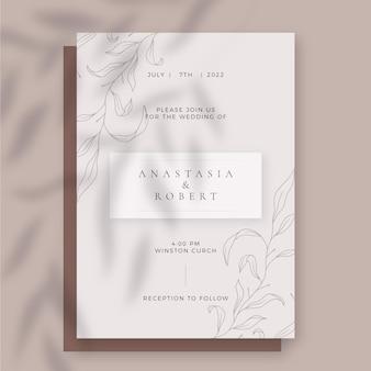 Ręcznie rysowane proste zaproszenie na ślub