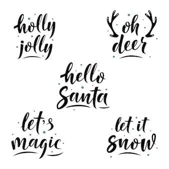 Ręcznie rysowane prosty zestaw liter z zimowymi frazami
