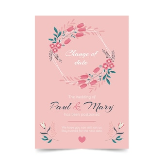 Ręcznie rysowane przełożona karta ślubu