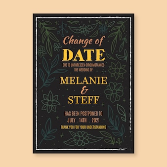 Ręcznie rysowane przełożone ślub zmienić datę