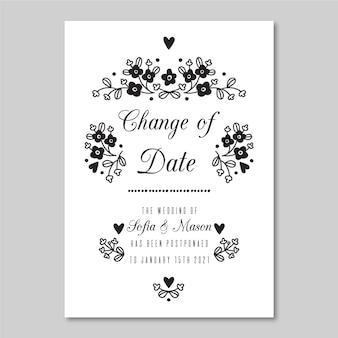 Ręcznie rysowane przełożone szablon karty ślubu