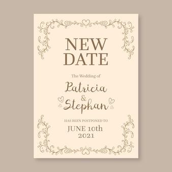 Ręcznie rysowane przełożony ślub nową datę