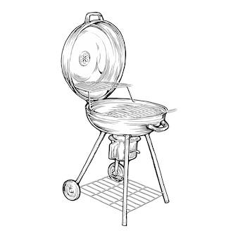 Ręcznie rysowane przenośny grill węglowy