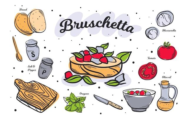 Ręcznie rysowane przepis bruchetta