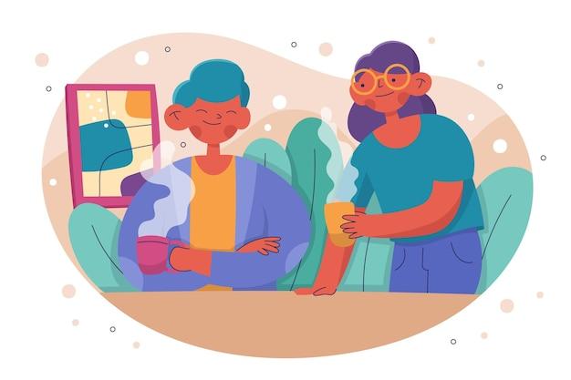 Ręcznie rysowane przyjaciele z gorącymi napojami