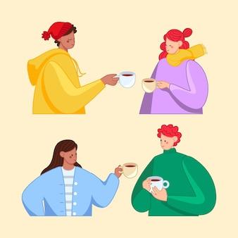 Ręcznie rysowane przyjaciele z kolekcją gorących napojów