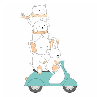 Ręcznie rysowane przyjaźni jazdy skuter razem cute animals cartoon