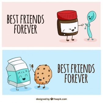 Ręcznie rysowane przyjemne przyjaciele banery