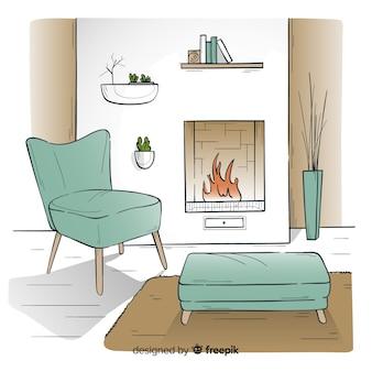 Ręcznie rysowane przytulne wnętrze domu