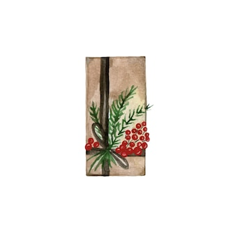 Ręcznie rysowane pudełko świąteczne owinięte w papier i ozdobione gałęziami i wstążkami. ilustracja wektorowa akwarela