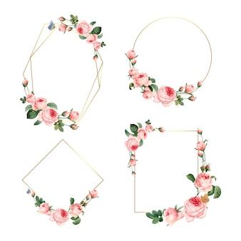 Ręcznie rysowane puste różowe róże ramki