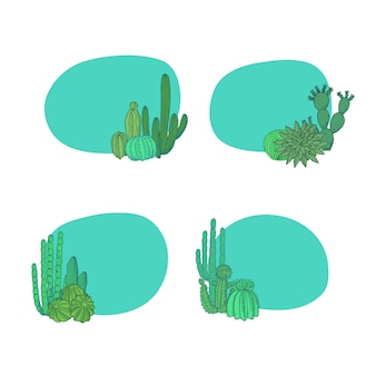 Ręcznie rysowane pustynne kaktusy