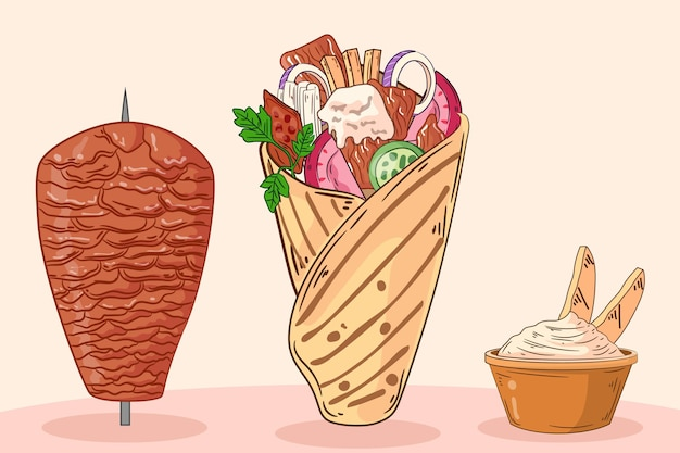 Ręcznie rysowane pyszna ilustracja shawarma