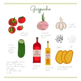 Ręcznie rysowane pyszny przepis na gazpacho