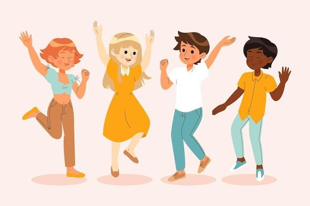 Ręcznie rysowane radosne osoby skaczące razem