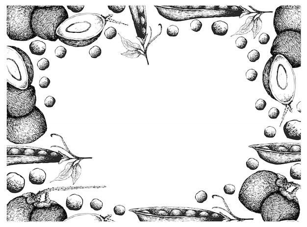 Ręcznie rysowane rama owoców kokosowych i groszku śnieżnego