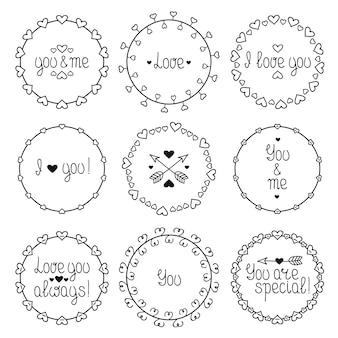 Ręcznie rysowane rama romantyczny wzór z serca. modny styl doodle