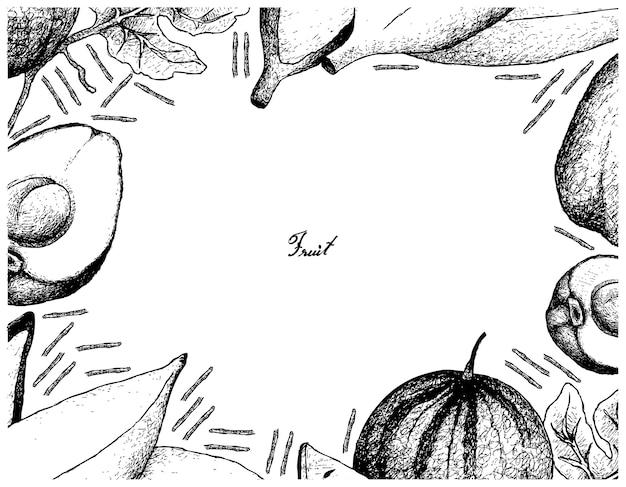 Ręcznie rysowane rama świeżych owoców na białym tle
