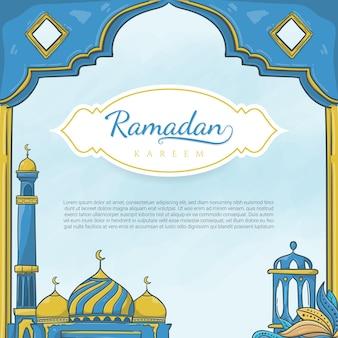 Ręcznie rysowane ramadan kareem z islamskim ornamentem