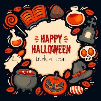 Ręcznie rysowane ramki halloween