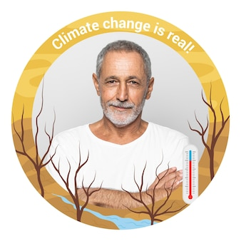 Ręcznie rysowane ramki na facebooku na temat zmian klimatu
