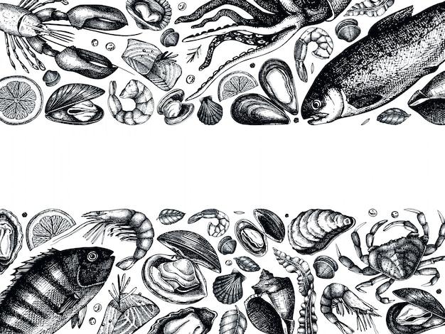 Ręcznie rysowane ramki owoce morza. ze świeżą rybą, homarem, krabem, skorupiakami, kalmarami, mięczakami, kawiorem, rysunkami krewetek. szablon menu vintage owoce morza szkice