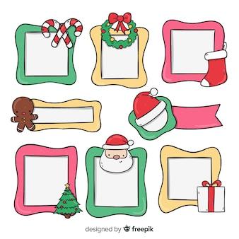 Ręcznie rysowane ramki świąteczne paczki