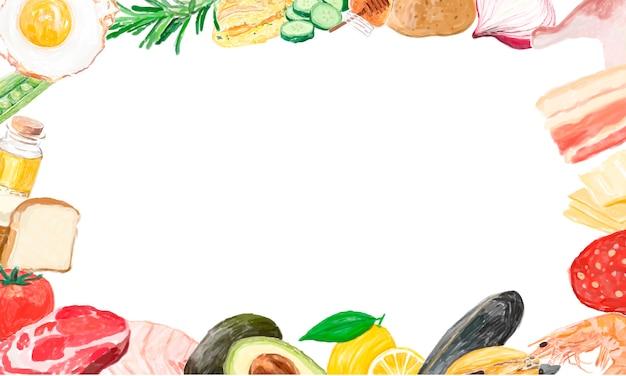 Ręcznie rysowane ramki warzyw z przestrzeni projektowej