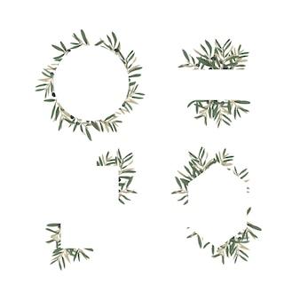 Ręcznie rysowane ramki z liści oliwnych do dekoracji kart okolicznościowych lub kart ślubnych