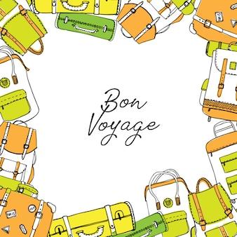 Ręcznie rysowane ramki z torby podróżne