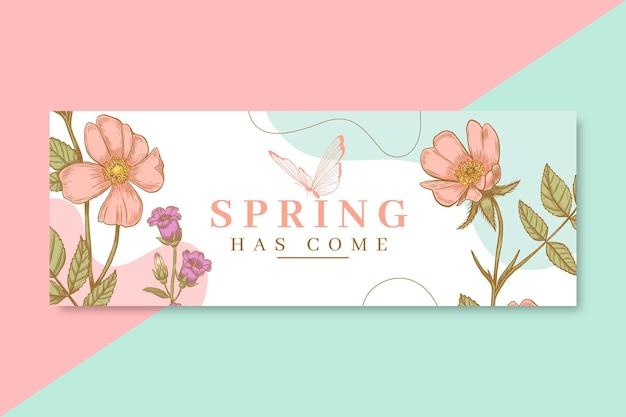 Ręcznie rysowane realistyczna wiosenna okładka facebooka