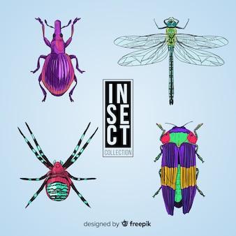 Ręcznie rysowane realistyczne opakowanie owadów