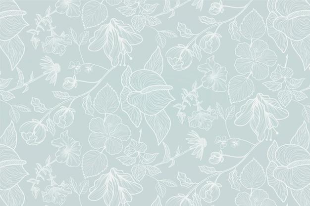 Ręcznie rysowane realistyczne tło kwiatowy