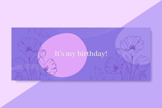 Ręcznie rysowane realistyczne urodziny okładka na facebooku