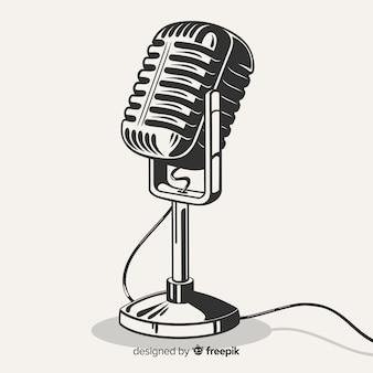 Ręcznie rysowane realistyczny mikrofon retro