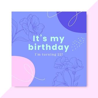 Ręcznie rysowane realistyczny post na facebooku urodzinowym